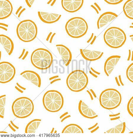 Hand Drawn Seamless Pattern Of Simple Orange, Half Orange. Doodle Sketch Style. Orange Pattern For F