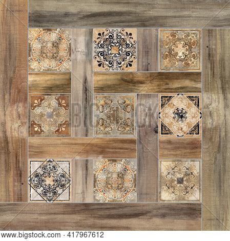 Digital tiles design.3D render Colorful ceramic wall tiles decoration. Abstract damask patchwork pat