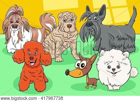 Cartoon Illustration Of Funny Purebred Dogs And Puppies Comic Animal Characters Group