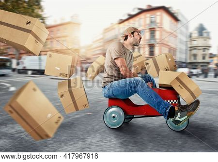 Courier Drive Fast With A Toy Car. Concept Of Fast And Express Delivery. Cyan Background