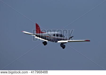 Piper Pa-28-181 Archer Ii Is Approaching The Airport Saint Gallen Altenrhein In Switzerland 20.4.202