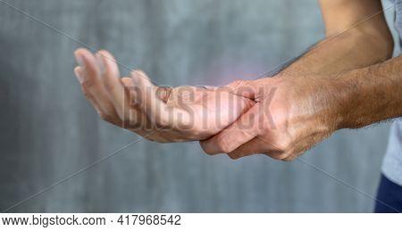 Close Up Man With Wrist Pain, Health Problem Concept
