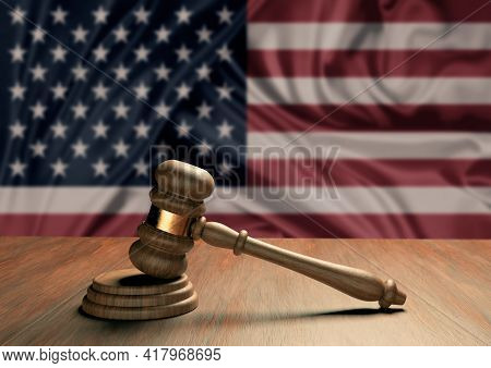 Wooden Judge's Gavel Symbol Of Law And Justice With The Flag Of Usa. North American Supreme Court. 3