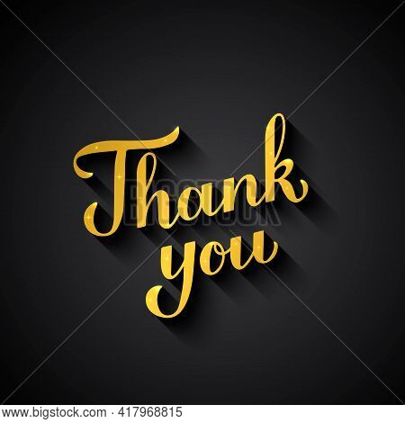 Thank You Inscription. Gold Lettering On Black Background. Vector Template For Wedding Thank You Car
