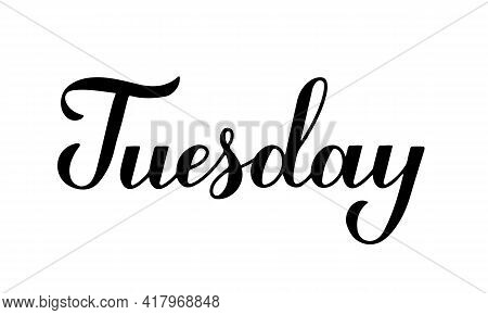 Tuesday Calligraphy Hand Lettering Isolated On White. Handwritten Typography Poster. Vector Template