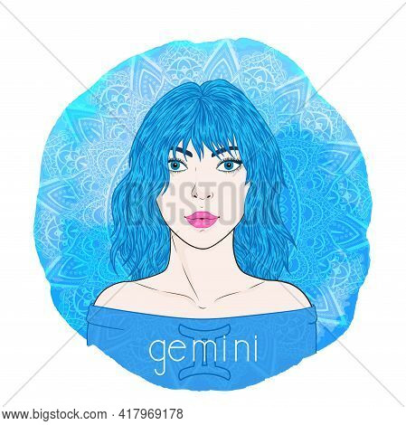 Astrology Card With Zodiac Sign Gemini And Beautiful Woman Portrait On A Decorative Watercolor Backg