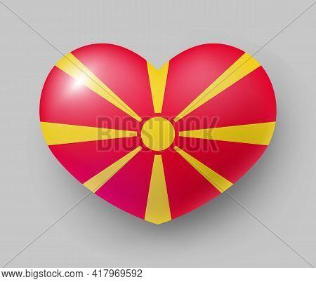 Heart Shaped Glossy National Flag Of Macedonia. European Country National Flag Button, Macedonian Sy