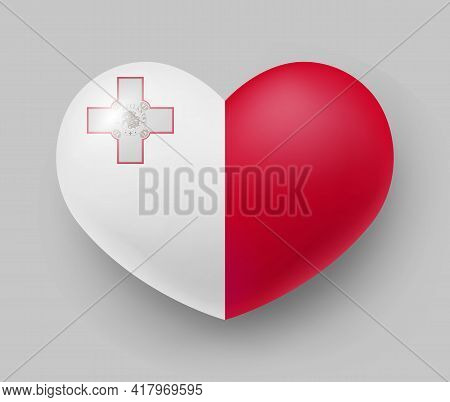 Heart Shaped Glossy National Flag Of Malta. European Country National Flag Button, Maltian Symbol In