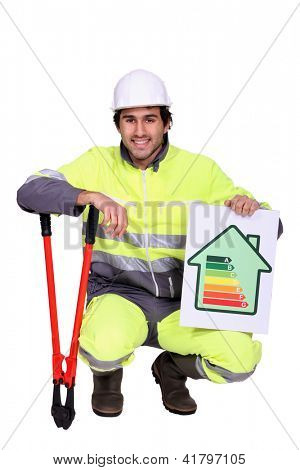 Construction worker with an energy rating symbol