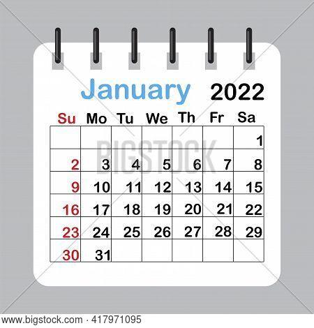 January 2022 Calendar Sheet In Abstract Style. Template Calendar 2022.  Vector Illustration. Eps 10.