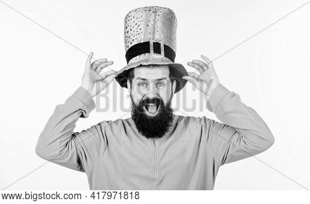 Man Bearded Hipster Wear Green Clothing And Hat Patricks Day. Saint Patricks Day Holiday. Green Colo
