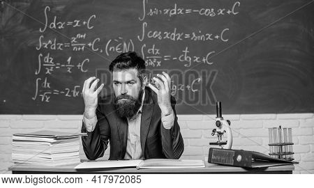 Emotional Burnout. Teacher Give Up. Hate His Job. Man Desperate Teacher In Classroom. No Hope For Be