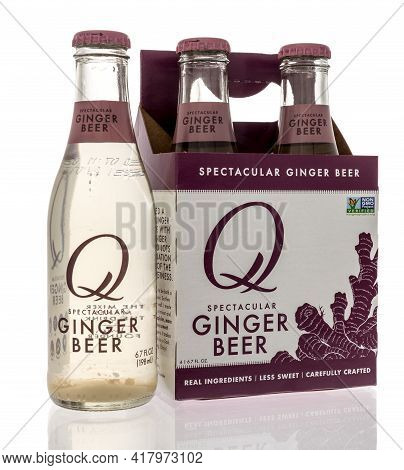 Winneconne, Wi - 22 April 2021:  A Bottle Of Q Spectacular Ginger Beer Drink On An Isolated Backgrou