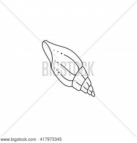 Seashell Icon In A Trendy Minimal Linear Style. Vector Illustration Of A Seashell For Website, T-shi