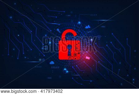 Information System Attack Concept.padlock Red Open On Electric Circuits  Network Dark Blue Backgroun