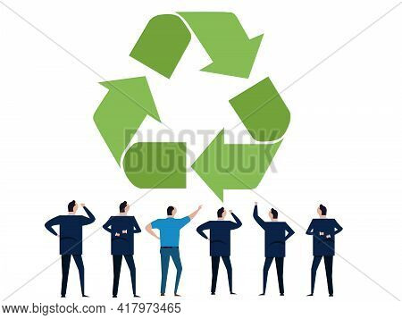 People Of Business Discuss Brainstorming Recycling Symbol Of Recycle Eco Friendly Environmental Prot