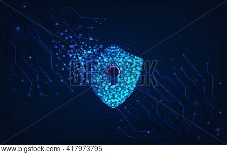 Internet System Attack Concept.the Shield Symbol Was Destroyed. Notification About Threat Of Interne