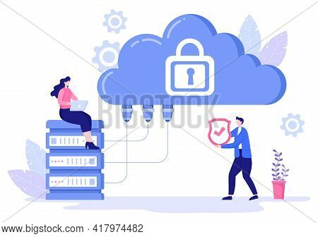 Data Cloud Private Illustration To Access Hosting Or Database And Data Protection. Internet Cyber Se