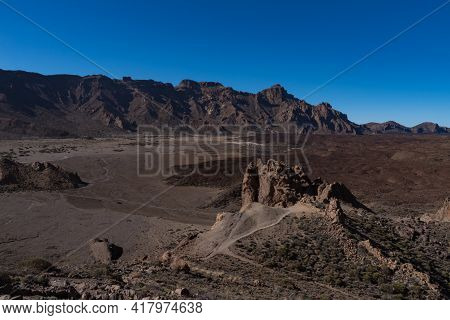 View To Lava Field And Volcanic Formation In Roques De Garcia Area  In Teide National Park, Tenerife