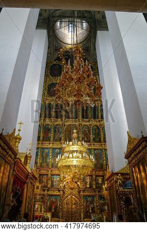 Pskov, Russia -july 4, 2010:  Interior Of The Trinity Cathedral In The Pskov Kremlin. The Current Ca