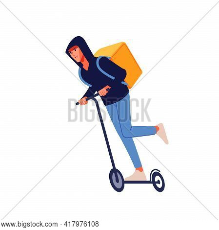Food Delivery Electric Scooter Driver With A Hooded And Yellow Container On His Back. A Courier On A
