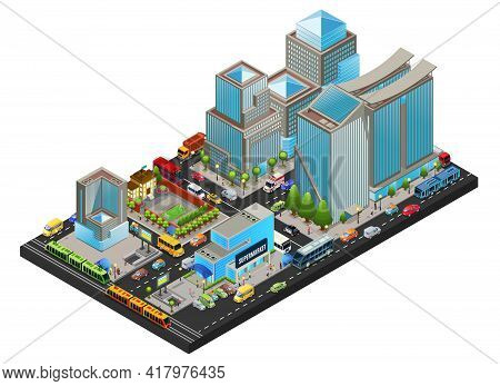 Isometric Modern Cityscape Concept With Office Living Supermarket School Buildings Public Transport