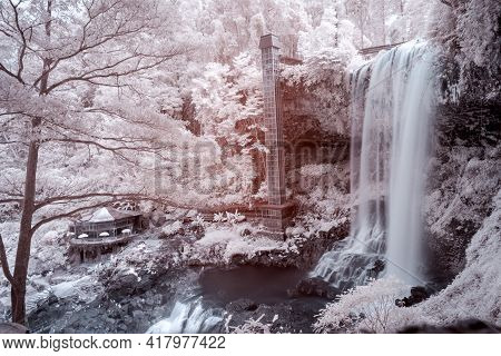 Landscape Photos Infrared: Dambri Waterfall (viet Nam). This Is A Beautiful Waterfall In Bao Loc Cit