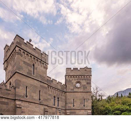 The Walls And Towers Of The Old Palace On The Background Of A Cloudy Sky. Vorontsov Palace, Or The A