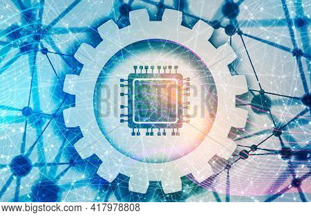 Cpu Microprocessor Icon. Concept Of Electronic Industry