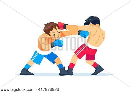 Boxing Among Boys. Teen Boxing, Kickboxing Children. Children Fight With These Adult Emotions. Popul