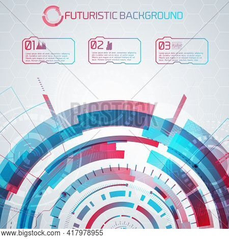Modern Virtual Technology Background With Futuristic Semicircle And Numbered Touch Buttons With Pict