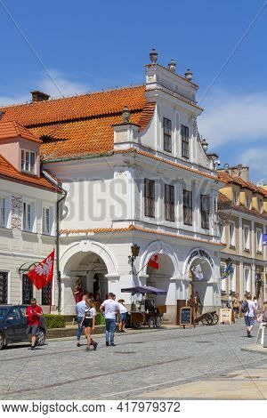 Sandomierz, Poland - July 10, 2020 : Burgher House, The Olesnicki Tenement House, 16th Century Build
