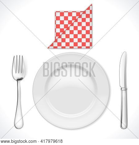 Dinner Place Setting Isolated On White. Vector Illustration. Eps10 Opacity