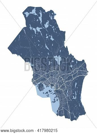 Oslo Municipality County Map. Detailed Vector Map Of Oslo City Administrative Area. Cityscape Poster