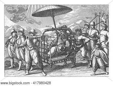 A wealthy Portuguese is moved by two servants in a sedan chair. Another servant is wearing a sunshade. Part of the group of servants is indigenous, see the lettering Negros on the left.