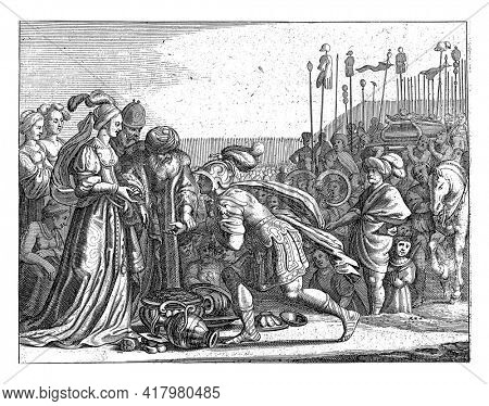 Caleb gives Otniel his daughter Achsa to wife. Otniel kneels before Achsa.