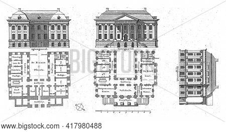 The rear facade, front facade, side facade and the two-storey floor plans of the Groningen town hall, which was completed in 1810.