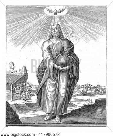 Christ with the apple in the hands standing in landscape and a dove as a symbol of the Holy Spirit above his head. Two scenes that refer to the beginning and the end of the life of Christ