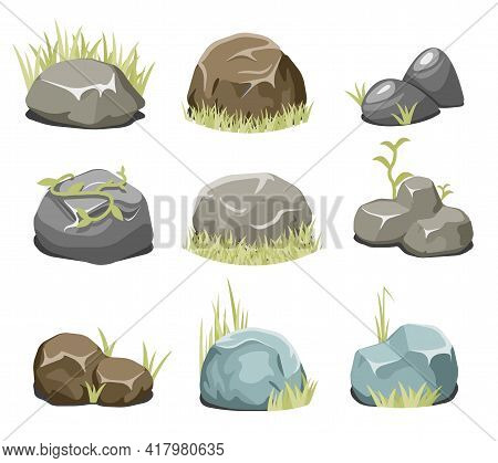 Rocks With Grass, Stones And Green Grass. Nature Rock, Illustration Outdoor, Environment Plant Vecto