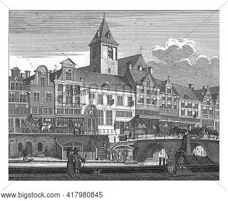 View of the Burgerweeshuis, the Regulierskerk and the Korenmarkt in Utrecht, Caspar Jacobsz. Philips, after Jan de Beijer, 1757 - 1758