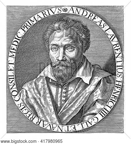 Portrait of Andre du Laurens, physician to the French King Henry IV. Numbered bottom right