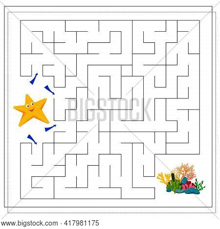 A Maze Game For Kids. Guide The Cartoon Starfish Through The Maze To The Corals. Vector Isolated On