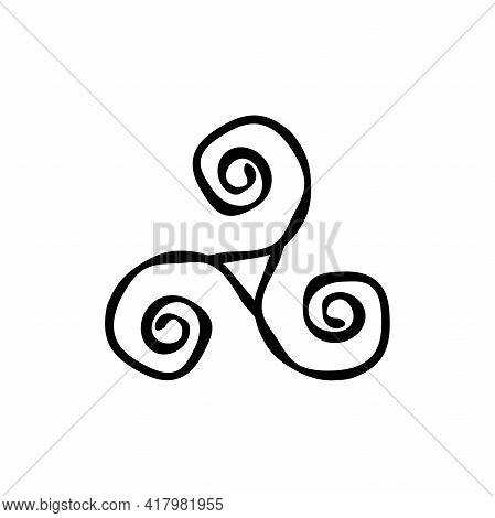 Triskelion Or Triskele Spiral Triangle Hand Drawn Shabby Symbol. Breton And Celtic Original Sign. Ve