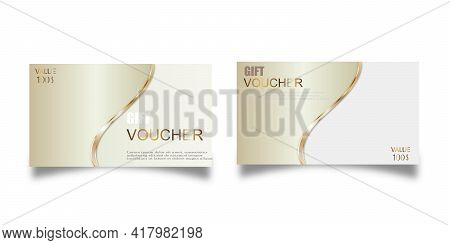 Vector Set Of Luxury Gift Vouchers With Ribbons And Gift Box. Elegant Template For A Festive Gift Ca
