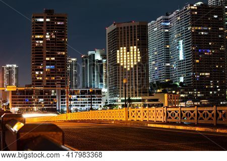 Miami Night Downtown, City Florida. Skyline Of Miami Biscayne Bay Reflections, High Resolution.