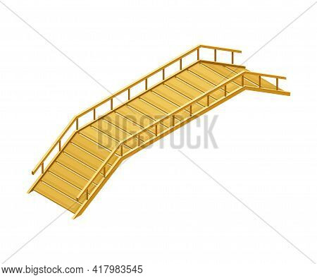 Curved Wooden Bridge With Balustrade Railing Vector Illustration