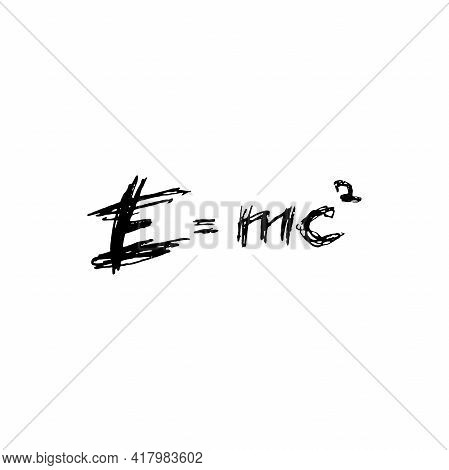 E Equals Mc Squared. Ink Pen Drawn Logo. Mass Energy Equivalence Concept. Lettering. Vector Illustra