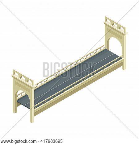 Fixed Bridge With Concrete Balustrade Railing Oated With Asphalt Isometric Vector Illustration