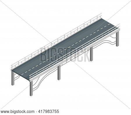 Fixed Bridge With Metal Balustrade Railing Oated With Asphalt Isometric Vector Illustration