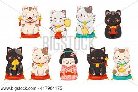 Maneki-neko Cat With Raised Paw As Ceramic Japanese Figurine Bringing Good Luck Vector Set